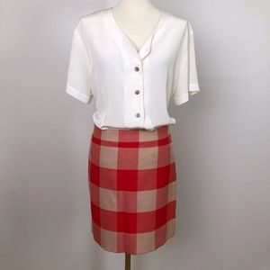 J.Crew Outlet Red and Tan Plaid Mini-Skirt